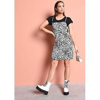 Zebra Print Strappy Backless Mini Bodycon Dress Black