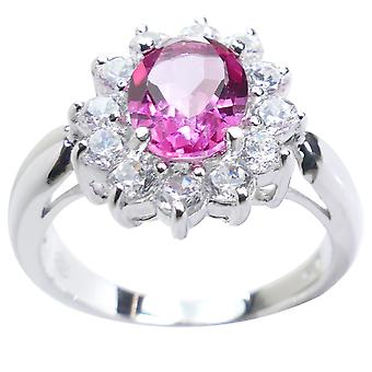 Ah! Jewellery Genuine Precious PINK TOPAZ Sterling Silver Ring