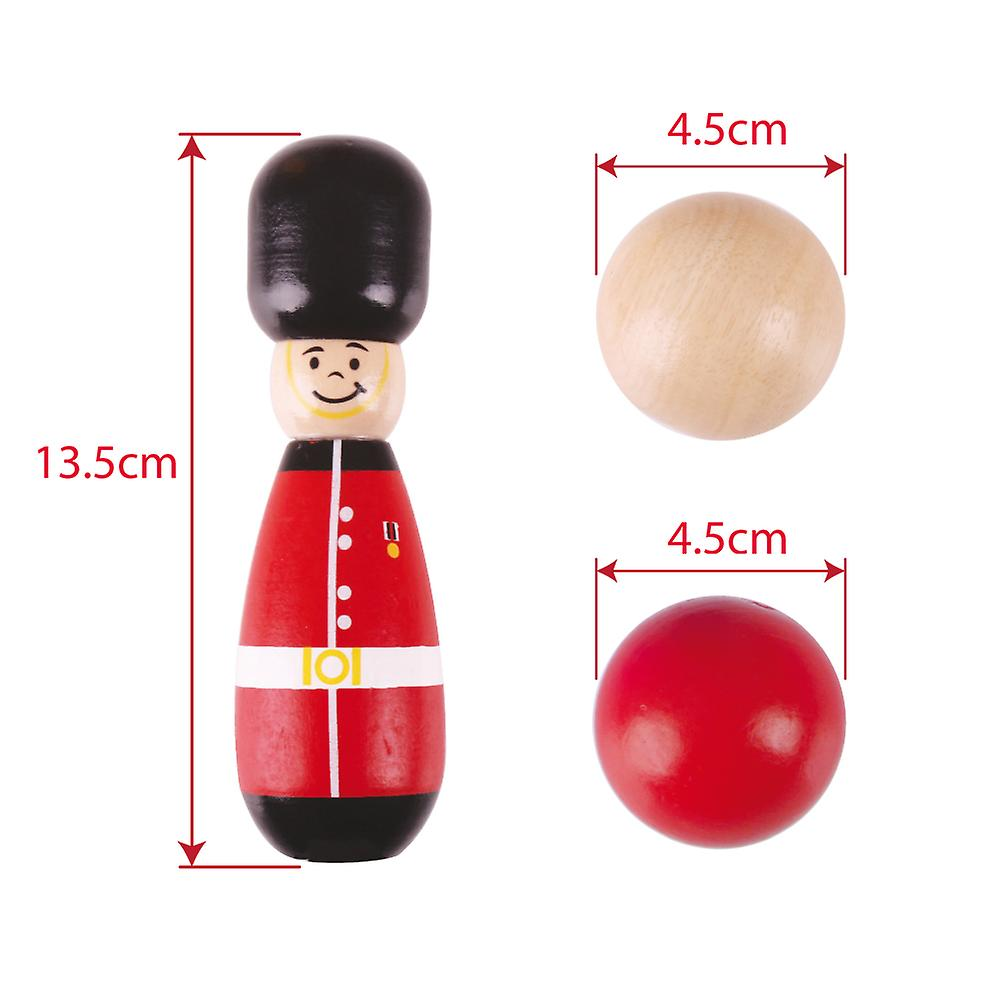 Bigjigs Toys Wooden Guardsman Skittles Tabletop Bowling Game Play Set