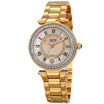 Burgi Women's Quartz  Mother of Pearl Stainless Steel Gold-Tone Bracelet Watch BUR165YG