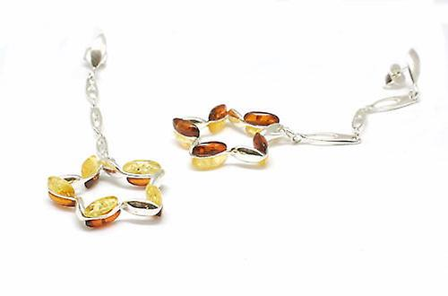Toc Sterling argent Double Sided Star Amber Drop Earrings