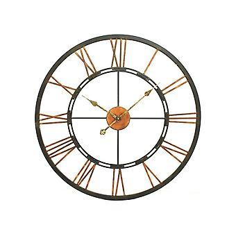 Horloge de mur de squelette noire et or de meubles de balancement