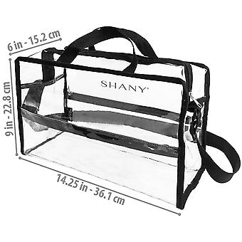 SHANY Clear PVC Water-Resistant Travel Tote Bag - Large See-Thru Bag with Adjustable Shoulder Straps and Zippered Pockets