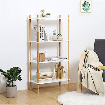 Bamboo/MDF Storage Rack-4 ply-white/natural