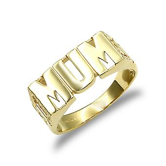 Jewelco London Ladies solid 9ct gult gull dempe link sider MUM ring