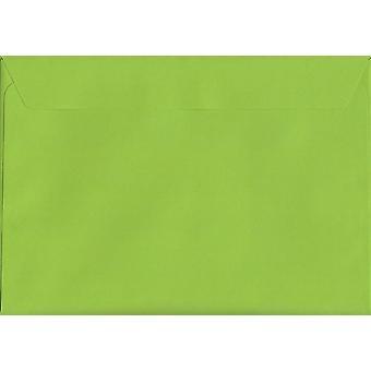 Lime grönt skal/tätning C5/A5 färgade gröna kuvert. 120gsm Luxury FSC-certifierat papper. 162 mm x 229 mm. plånbok stil kuvert.