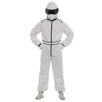 The Stig White Race Car Driver Suit and Helmet Fancy Dress Costume