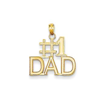 14k Yellow Gold Textured Polished Number 1 Dad Charm - 1.1 Grams