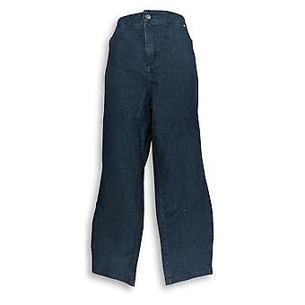Isaac Mizrahi Live! Women's Plus Jeans 24/7 Denim Fly Front Blue A286107