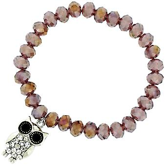 Crystal Owl charme op een paarse Facet kralen Stretch armband