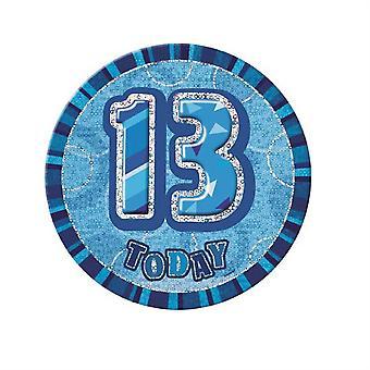 13TH BIRTHDAY BADGE GLITZ BLUE BIRTHDAY PARTY DECORATIONS
