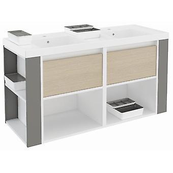 Bath+ Cabinet 2 Drawers + Shelves With Resin Basin Oak-White-Grey 120