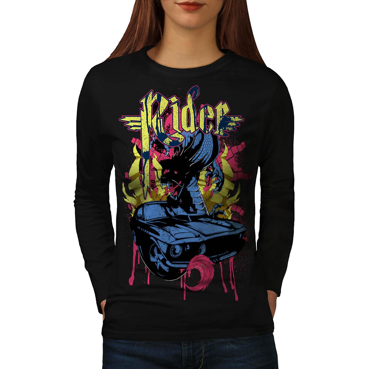 Dragon Motor Car Ride Automobile Women Black Long Sleeve T-shirt | Wellcoda