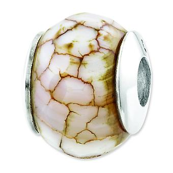 Sterling Silver Reflections Cracked Agate With Shell Stone Bead Charm