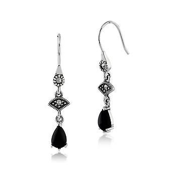 Sterling Silver 0.86ct Black Onyx & 8.4pt Marcasite Art Deco Style Drop Earrings