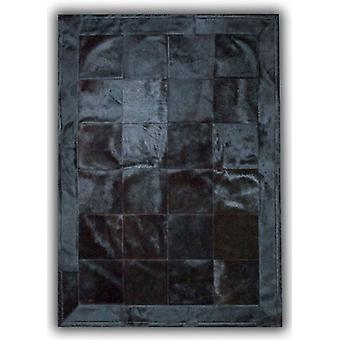 Rugs -Patchwork Leather Cubed Dyed Black