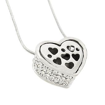 Rhinestone Encrusted Heart Necklace / Pendant Polished Chrome