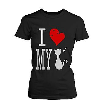 Women's Cute Graphic Statement T-Shirt - I Love My Cat Black Graphic Tee