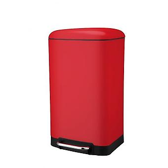 30 ltr PEDAL BIN RECTANGULAR RED STAINLESS STEEL HOME KITCHEN