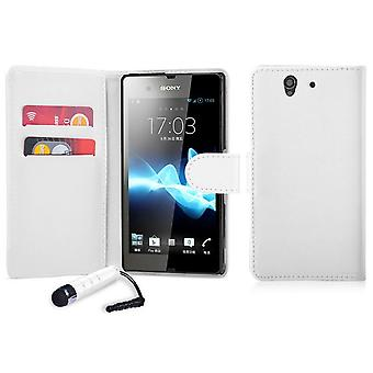Book Leather Case Cover For Sony Xperia E (C1504) + Stylus - White
