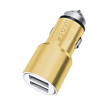 ONX3 (Gold) Quick Charge Dual Port USB Full Metal Car Charger With LED Indicator 3.1A 24W Safety Hammer For BLU Vivo IV