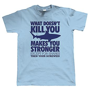 Vectorbomb, What Doesn't Kill You Shark Mens Funny T Shirt (S to 5XL)