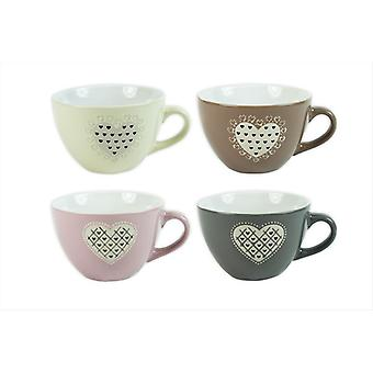 Set of 4 Mugs Heart Design Tea Coffee Home Office Coupe Embossed Tea Coffee Cups