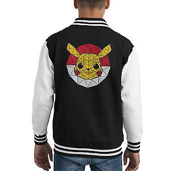 PolyChu Pokemon Pikachu Polygon Stainglass Kid Varsity Jacket