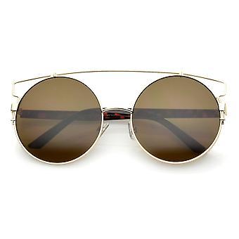 Oversize Open Metal Double Nose Bridge Round Flat Lens Aviator Sunglasses 53mm