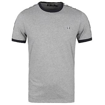 Fred Perry staal mergel afgeplakte Ringer Short Sleeve T-Shirt