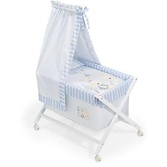Interbaby Minicuna White With Textile canopied Model Bunny Baby Blue