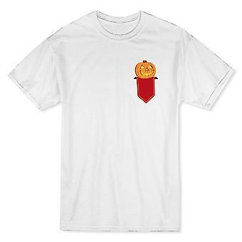 Weißes T-shirt Halloween Gewinner Pocket Kürbis-Wettbewerb Herren
