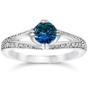 1 1/6ct Vintage Treated Blue Diamond Pave Engagement Ring White Gold