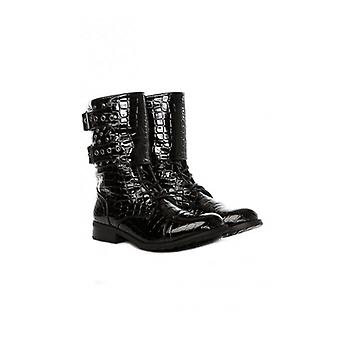 The Fashion Bible Studded Calf Length Boots In Black