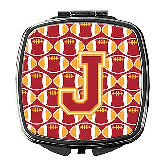 Letter J Football Cardinal and Gold Compact Mirror