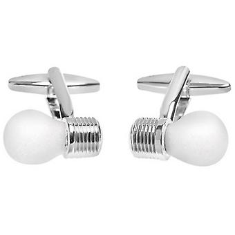Zennor Lightbulb Cufflinks - White/Silver