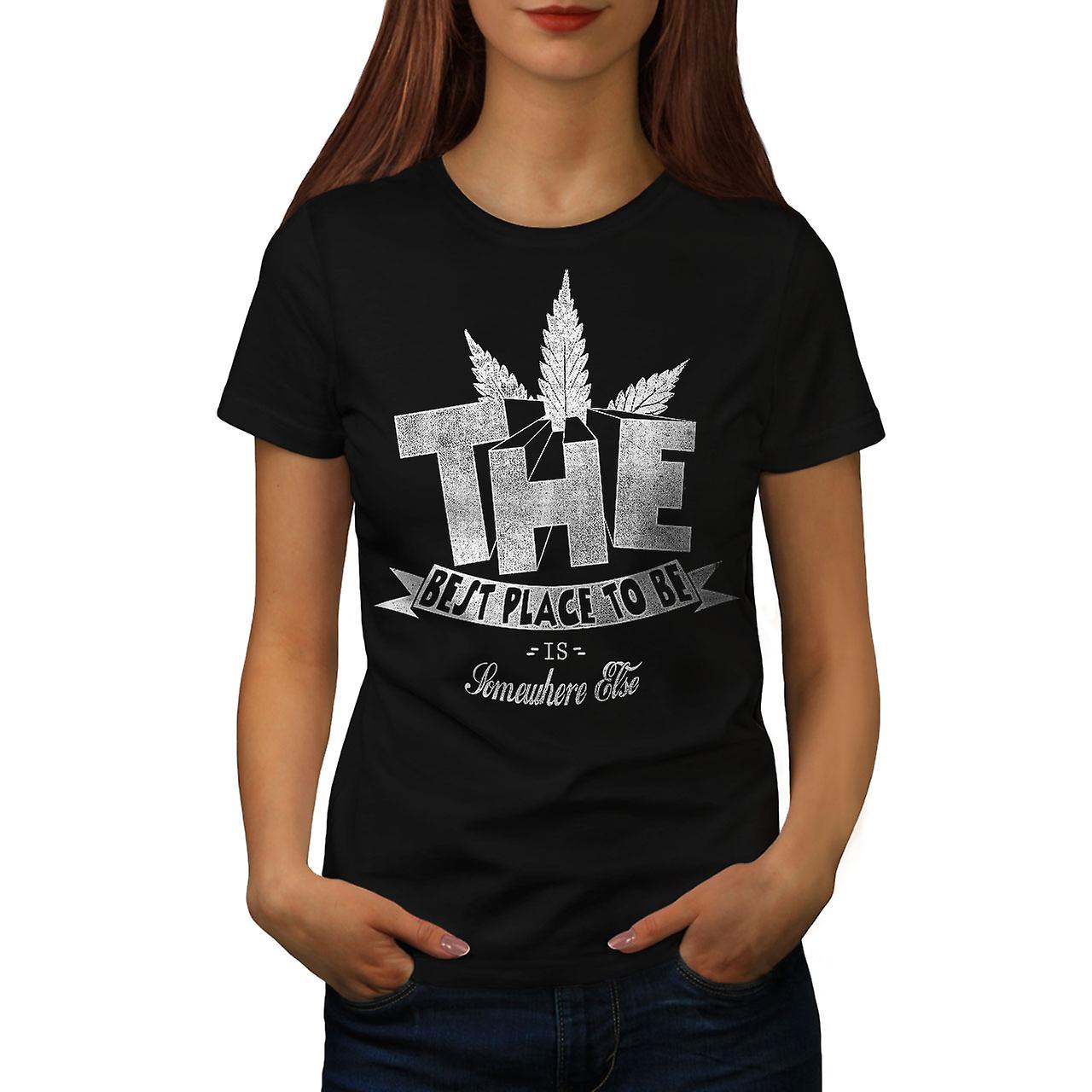 Best Place Weed Pot Rasta Women Black T-shirt | Wellcoda