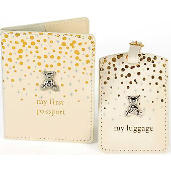 Bambino Gold & Glitter Passport & Luggage Tag Set Teddy Icon