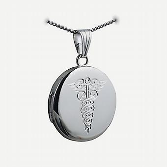 Silver 23mm engraved medical alarm flat round Locket with a curb Chain 24 inches