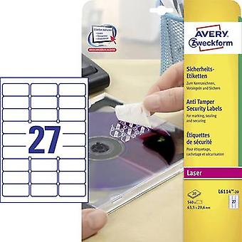 Avery-Zweckform L6114-20 Labels (A4) 63.5 x 29.6 mm Polyester film White 480 pc(s) Permanent Safety stickers, All-purpos