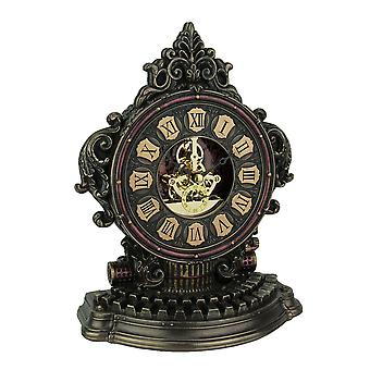 Steampunk Style Antique Typewriter Table Clock With Moving Clockworks