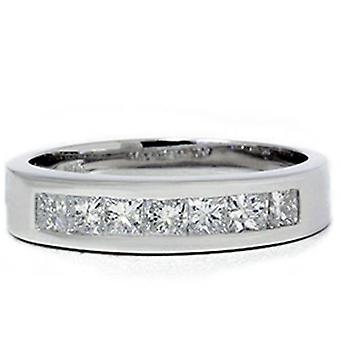 1 1 / 2ct Princess Cut Mens ekte Diamond 14K giftering