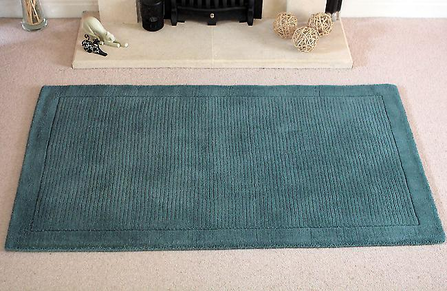 York York-Teal Greeny-blue Rectangle Rugs Plain/Nearly Plain Rugs