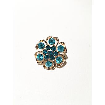 Gold and Light Blue Brooch