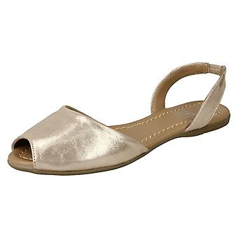 Dames plek op vlakke Slingback Mule sandalen F00152 - licht goud Metallic folie - UK maat 4 - EU grootte 37 - US maat 6