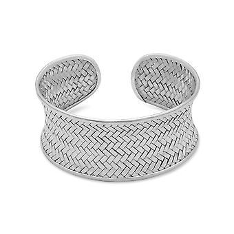 Braçadeira de tecido côncavo pulseira 27,5 mm prata esterlina côncavo bracelete com Weave Design