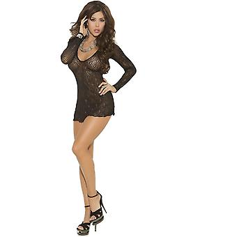 Elegant Moments EM-1409 Sparkle Swirl Lace Deep V Mini Dress Also in Plus Size