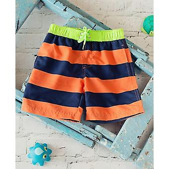 Big Fisch Boys Striped Swim Shorts - Navy & Orange