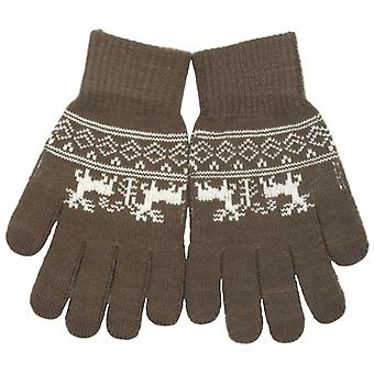RJM Adults Knitted Touch Screen Phone Gloves Fairisle Pattern One Size