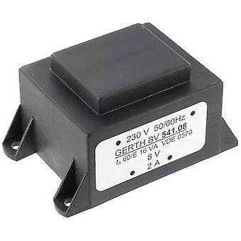 PCB mount transformer 1 x 230 V 2 x 24 V AC 16 VA 333 mA PTA544802 Gerth